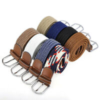 Mens Womens Elastic Belt Braided Woven Stretch Canvas Buckle Golf Waist Straps