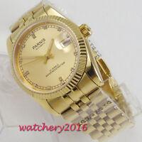 36mm PARNIS Miyota Golden Plated Diamond Dial Saphirglas Automatisch men's Watch