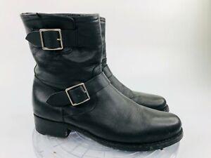 FRYE Black Leather Women's 11 B Ankle Zipper Motorcycle Buckle Boots 4003