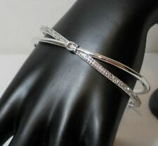 NWT Coach Criss Cross Silver Plated Bangle, Crystals, One Size