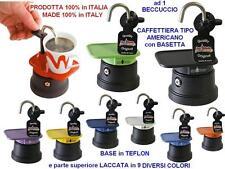 N.1 BOMBONIERA 100% ITALIANA CAFFETTIERA AMERICANA MOKA ad 1 TUBO CALDAIA TEFLON