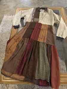 Donna Jessica Art to Wear sz 1 Boho Patchwork Long Dress Coat Multi Langenlook