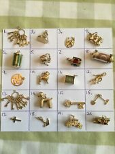 Vintage 9ct gold charms, pendants. Gifts. Poodle,notes,horse,anchor,keys cross.