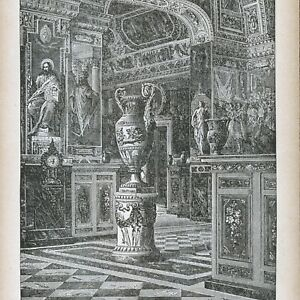A Room in the VATICAN LIBRARY - 1886 engraving