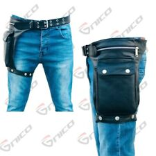 Genuine Leather Motorcycle Waist Bag / Motorbike Rider Leg Pouch / Professional