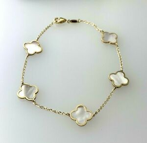 """5 Small Four Leaf Clover Bracelet With Mother of Pearl in 14k Y/ Gold 7""""inch"""