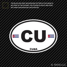 Cuba Oval Sticker Die Cut Decal Cuban Country Code euro CU v1