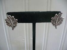 Vintage Sterling Silver Leaf Motif Screw-on Earrings