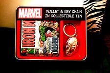 "MARVEL IRON MAN ""VINTAGE LOOK"" COMIC WALLET & IRON MAN METAL KEYCHAIN IN TIN!"