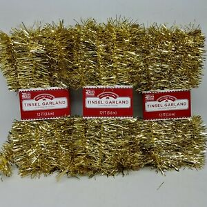 Lot of 3 - Gold Tinsel Garland Christmas Holiday Decoration - 12 Ft Each Pack