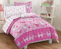 Twin Size Comforter Set Girls Bed in a Bag Kids Bedding Princess Pink Microfiber