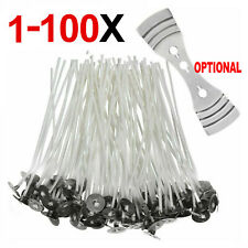 1- 100 PCS PACK 15CM LONG PRE WAXED HIGH QUALITY SMOKELESS CANDLE WICKS + HOLDER