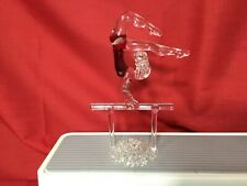 Gymnast Girl Figurine Handblown Glass Red on Bar