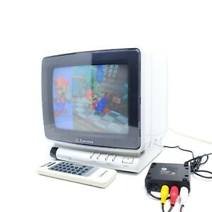 "Vintage Emerson 9"" CRT Tube TV Retro Gaming Television Portable White & Remote"