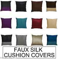 "Pack of 2 Faux Silk Satin Plain Stripe Cushion Covers Size 18x18"" Square Deco"