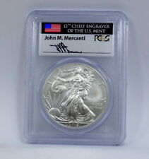2015 W BURNISHED SILVER EAGLE PCGS SP70 MERCANTI FIRST DAY OF ISSUE DENVER -RARE