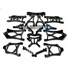 King Motor Black Alloy Set of 17, EX Suspension Arm Shock Tower Fit HPI Baja 5B