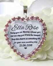 Mummy's Flower Girl Bouquet Charm Pink Diamanté Wedding Gift Accessories Heart