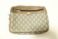Authentic Gucci Plus Canvas PVC Clutch bag Pouch #7769