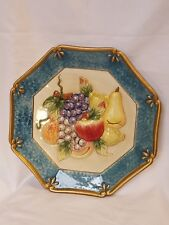 2004 Fitz & Floyd collectible fruit plate hanging plaque blue border dimensional