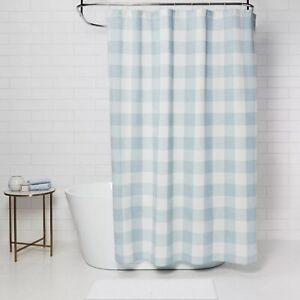 Gingham Checkered Shower Curtain Borage Blue - Threshold new