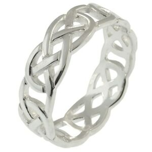 Men's Solid Silver 7mm Celtic Eternal Knot Band Ring Size V Jewellery