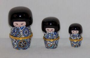 Set of 3 Japanese Geisha Girl Porcelain Hinged Trinket Box