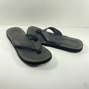 Clarks Flip Flop Thong Sandal Leather for Women Size 8 Black