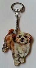 Wood Shih Tzu Dog keyring key ring, keychain Hand made in UK New