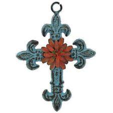 Blue Fleur-De-Lis Metal Cross Wall Decor Tuscan Brown Rustic Decorative