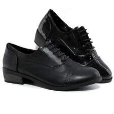 Ladies Womens Office Mid Block Heel Formal Vintage Brogue Smart Work Shoes Size