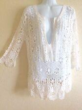 Brittany Black Peasant Top Blouse Tunic Shirt Crochet Boho White L Large #PY417