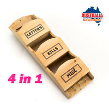 4in1 Wooden Timber Wall Keys Organiser Hook Bills Mail Letter Holder Rack Hanger