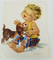 Vintage 1960s Spanish Constanza Laughing Toddler Licking Puppy Painting Print