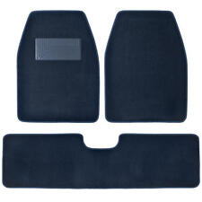 3pc Set Blue Heavy Duty Carpet SUV Van Pickup Car Floor Mats Front Rear Rug