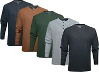 Mens Henley Jumper Top Soft Wash Thermal Grandad Neck Waffle Knit T-shirt M-2XL