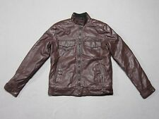 AFFLICTION BLACK PREMIUM MENS BUCKLE EXCLUSIVE BROWN FAUX LEATHER JACKET SMALL