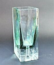Vintage Glass Vase Green and Blue Trailed Decoration rectangle shaped 15cm high