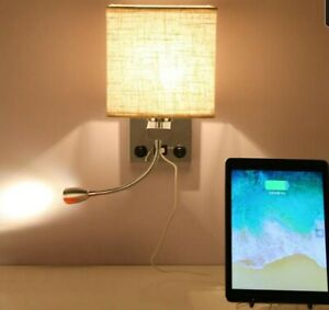 Bedside Reading Light Wall Mounted,Polished Chrome 2 On/Off Switch & USB RRP £32