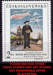 CZECHOSLOVAKIA 1967 HENRI ROUSSEAU PAINTING  MNH ART, SHIPS, BRIDGE, BALLOON