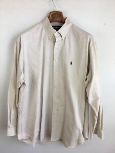 Ralph Lauren Mens Blake Fit Shirt XL Beige Khaki Long Sleeve Button Down Cotton
