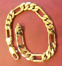 "gcb Plum UK 8.5"" / 215mm x 10mm 18k gold gf Figaro chain bracelet BOXD RRP £39"