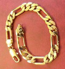 "GF13 Plum UK 8.5"" / 215mm x 10mm 18k gold gf Figaro chain bracelet BOXED RRP £39"