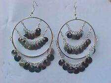 Silver Confetti Earrings Circle Loop Triple Chain Disc Confetti Pierced Earrings