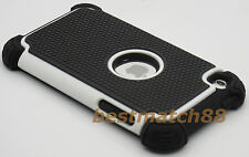 for ipod touch 4th 4 th itouch 4 gen black white 3 layer hybrid soft & hard case