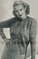 Vintage Knitting Pattern 1940s Lady's Fair Isle Jumper & Cardigan Twin Set.