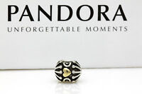 790430 Genuine Authentic PANDORA Sterling Silver & 14ct Gold Hatched Heart Charm