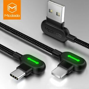 Mcdodo 90 Degree Elbow Lighting Micro USB Type C Charger Cable fr iPhone Samsung