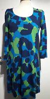 Boden Blue Green Patchy Print Jersey Dress Size 12 UK 3/4 Sleeves Stretch