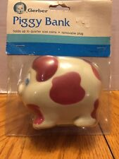Vintage Rubber Vinyl Gerber Piggy Bank Brand New Still In Package Red White
